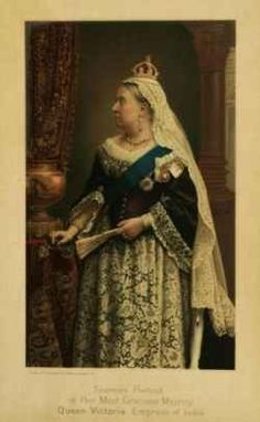 Queen Victoria (Alexandrina Victoria) (24 May 1819-22 Jan 1901) UK & Empress of India Photolithograph on silk by unknown artist c.1887.