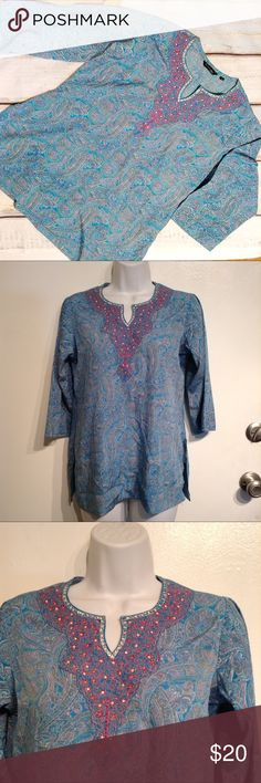 Colorful Paisley Sequin Embellished Top Color paisley print tunic top with sequin embellishments and embroidery at the neckline. Nice bright colors are perfect for spring and summer. Could be styled as part of a preppy chic or Beachy boho outfit. No modeling. Smoke free home. Tops
