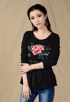 CT06594 Splice embroidered long sleeve round neck T-shirt for women