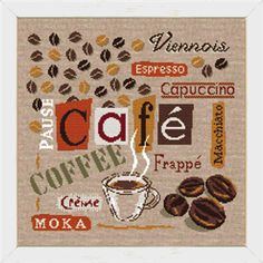 Cafe, Coffee – a modern counted cross stitch chart depicting all types of Coffee, words in French. Cross Stitch Kitchen, Modern Cross Stitch, Cross Stitch Designs, Moka, Cappuccino Cafe, Café Chocolate, Cross Stitch Bookmarks, Frappe, New Tricks