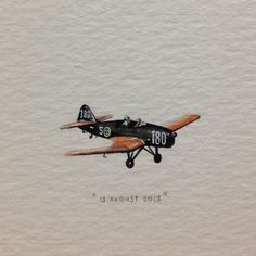 Day 225 : A plane for Mr Mikey. Happy birthday! ✈. 27 x 12 mm. #365paintingsforants #miniature #watercolor #vintage #plane