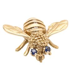 14K Yellow Gold Diamond and Sapphire Bee Brooch