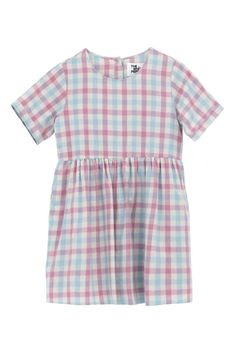 T-Shirt Smock Dress Pink Check