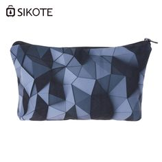 SIKOTE Fashion Women Cosmetic Bag Black 3D Geometric Style Clutch Package High Quality Waterproof Portable Sac Maquillage