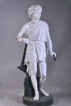 Mathurin MOREAU – (after), The Blacksmith, Cast iron sculpture after a model for the Val d'Osne Art Foundries (Reference - Available at Galerie Marc Maison French Sculptor, Architectural Antiques, Blacksmithing, Statues, Cast Iron, Mythology, Drawings, Artwork, Painting