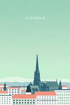 Vienna Wien Travel Poster by Katinka Reinke