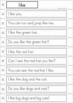 Sight Words Reading Strips and Writing Center (Pre-Primer Words). A fun way to help kids develop reading fluency and build confidence!