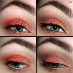 This gorgeous eye makeup uses eye shadow in warm orange shades. See how this look can take you from day to night with just a few product additions and this step-by-step guide.