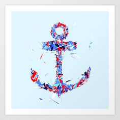 Anchor Art Print by Tracie Andrews - $15.00 Anchor Art, Crafty Craft, Ink, Art Prints, Camper Van, Tattoos, Piercings, Tattoo Ideas, Crafts
