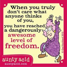 Aunty Acid - When you truly don't care what anyone thinks of you, you have truly reached a dangerously awesome level of freedom. Aunty Acid, Funny Cartoons, Funny Jokes, Hilarious, Funny Minion, Just For Laughs, Just For You, Senior Humor, Twisted Humor