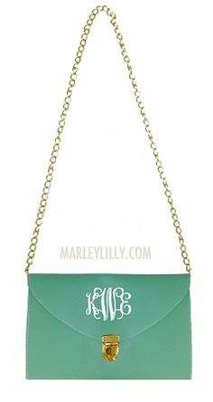 Monogrammed Mint Green Luxe Cross Body Clutch