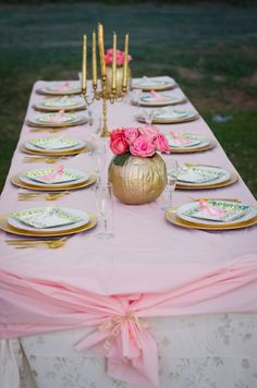 Pink and Gold Cinderella birthday Banquet tables cape