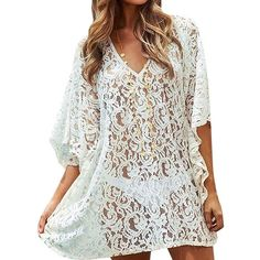 Women Sexy Batwing Sleeve Bikini Cover Up Floral Lace Beach Dress... ❤ liked on Polyvore featuring swimwear, cover-ups, sexy swimsuits, bathing suit cover ups, swim suit cover up, bikini swimsuit and sexy swimsuit cover up
