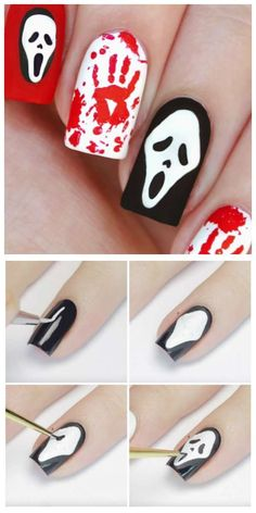 A nail art inspired by the Scream movie. 25 easy and scary nail art ideas for Halloween Loading. A nail art inspired by the Scream movie. 25 easy and scary nail art ideas for Halloween Holloween Nails, Halloween Acrylic Nails, Halloween Nail Designs, Best Acrylic Nails, Gel Nail Art, Halloween Halloween, Nail Nail, Film Scream, Cute Nails