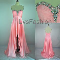 A Line Strapless Sweetheart With Crystal Front Short Long Back Chiffon Prom Dresses, Evening Gown, Evening Dresses, Party Dresses    prom dress but in different color