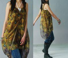 Peacock chiffon tunic dress Y1209 by idea2lifestyle on Etsy, $58.00