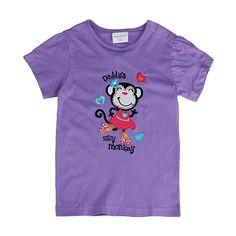 Sale 10% (8.39$) - 2015 New Summer Baby Girl Children Monkey Purple Cotton Short Sleeve T-shirt