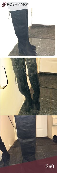 Above the knee boots Black, suede, above the knee with chunky heel and tie in the back to secure around the leg boots!! Jessica Simpson Shoes Over the Knee Boots