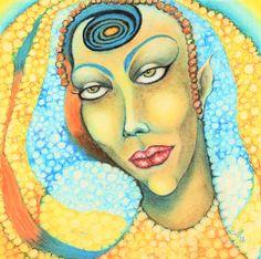 Oil Pastel Paintings, Original Paintings, Original Art, Eye Painting, Woman Painting, Oil Pastel Colours, Pointillism, Third Eye, Art Oil