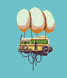 An #airship using the db16 palette for the #pixel_dailies (@Pixel_Dailies ) and loving #aseprite ! #pixelart