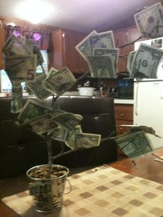 A money tree for graduation gift Graduation Presents, Graduation Gifts, Graduation Ideas, Hide Money, How To Get Money, Diy Party, Party Gifts, Crafts To Make, Diy Crafts