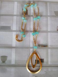 Aqua Gold Gemstone Pendant Necklace. by GraceLillyDesigns on Etsy