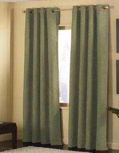 Amazon.com - 4pcs Grommet Top Solid Sage Green Microsuede Window Curtain Panel Set with Matching Color Sheer Lining