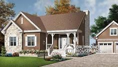 The whole thing flipped, no fireplace, entrance at an angle, garage moved up with laundry/mudroom attaching it to the house. House plan W3101 by drummondhouseplans.com.