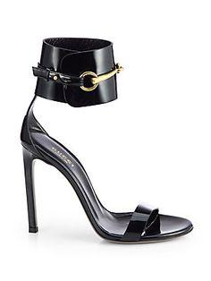 Gucci Ursula Patent Leather Horsebit Ankle Strap Sandals