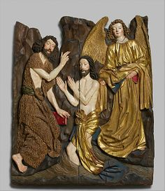 Workshop of Veit Stoss, Baptism of Christ (Nürnberg, ca. 1480-90, Metropolitan Museum of Art, New York)