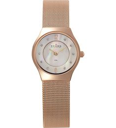 beautiful rose gold-plated and mesh watch