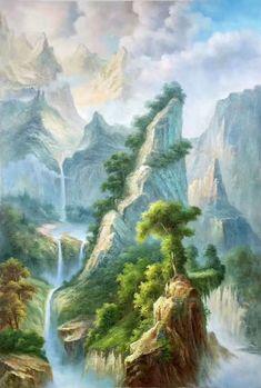 Fantasy Landscape, Landscape Art, Landscape Paintings, Fantasy Art, Beautiful Nature Wallpaper, Beautiful Landscapes, Ronin Samurai, Waterfall Paintings, Art For Art Sake