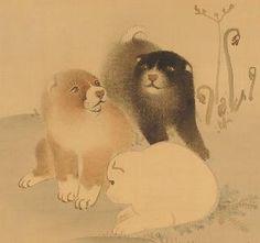 Detail. [円山応挙] 狗児図. Pups. Japanese hanging scroll. Maruyama Okyo. Edo period.