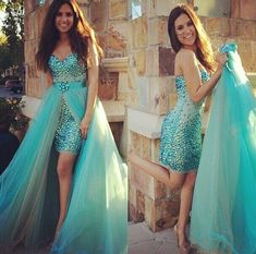 Cheap turquoise prom dresses long, Buy Quality turquoise prom dresses directly from China prom dresses Suppliers: Vestidos de baile 2017 new sexy sweetheart crystal Aline Detachable Train 2 pieces turquoise prom dresses long plus size Gorgeous Prom Dresses, Dresses Elegant, Prom Dresses Two Piece, Prom Dresses 2015, Unique Prom Dresses, Long Prom Gowns, Prom Dresses Blue, Mermaid Prom Dresses, Prom Party Dresses