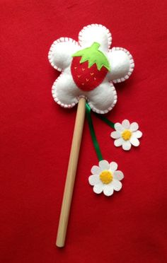 Handcrafted Strawberry Fairy wand by The Coven of Stitches
