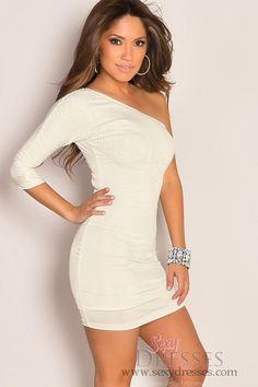 One Shoulder Half Sleeve Sequin Detail White Mini Club Dress