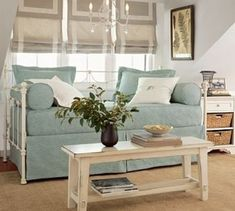 For my spare bedroom/craftroom! Savannah Daybed with Trundle Daybed Couch, Daybed Room, Daybed With Trundle, White Daybed, Daybed Mattress, Home Theaters, Pottery Barn Bedrooms, Metal Daybed, Daybed Design