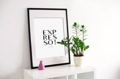 Expresso Instant download printable poster, black & white typography wall art posters, Coffee posters, Wall decor, Digital art, kitchen art http://etsy.me/2hTMmBI #art #print #digital #expresso #coffeeposters #instantdownload #printableposter #printableart #graphicdesigns #etsy