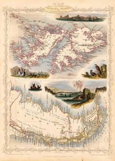 Maps of the world. South America - Chile Paraguay Patagonia