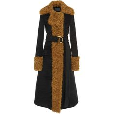Shearling Trim Long Coat   Moda Operandi (197.171.070 IDR) ❤ liked on Polyvore featuring outerwear, coats, long velvet coat, long coat, velvet coat, long length coats and longline coat