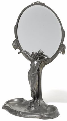 "BITTER & GOBBERS, Art Nouveau figural vanity mirror with attached tray, pewter, circa 1900, Germany, impressed ""IMPERIAL ZINN B+G, 5200"", height 22.5 in."