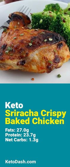 Trying this Sriracha Crispy Baked Chicken and it is delicious. What a great keto recipe. #keto #ketorecipes #lowcarb #lowcarbrecipes #healthyeating #healthyrecipes #diabeticfriendly #lowcarbdiet #ketodiet #ketogenicdiet