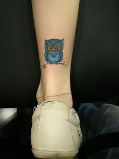 or this? but not blue. cute owl tattoo