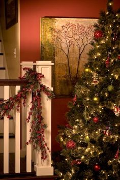 staircase at christmas craftsman staircase - Craftsman Christmas Classic