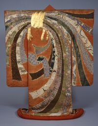 Kimono Momoyama Period , Kyoto.Importance of this particular uchikake is hard to overprise. Designe of a knot is made of  pieces of antique kimonos, collected from shrines,and represent nearly all history of japanese textile art ,history of Nippon in fact.