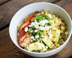 BBQ Chicken and Grilled Zucchini Quinoa Bowl