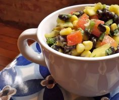 Vegan black bean salad. Black beans, corn, tomatoes, mango, avocado, onions, jalapeno, cilantro ♥