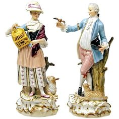Meissen Couple Shepherd and Shepherdess with Lamb Model 6 by Kaendler c.1860/70 | From a unique collection of antique and modern porcelain at https://www.1stdibs.com/furniture/dining-entertaining/porcelain/