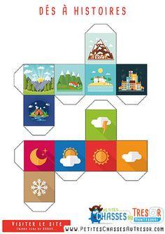Dés à histoire à imprimer pour enfant sur la météo et les lieux