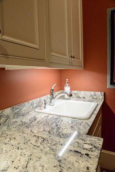 Laundry Room, Carolina White Granite Countertops   Notice The Black/blue  Vein In Granite